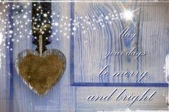 Kartka bożonarodzeniowa z tekstów bożych narodzeń powitaniami Zdjęcia Royalty Free