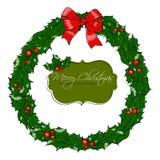 Kartka bożonarodzeniowa z wiankiem. Fotografia Royalty Free