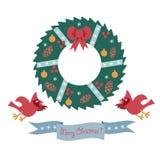 Kartka bożonarodzeniowa z wiankiem i parą kardynały na białym tle Zdjęcie Royalty Free