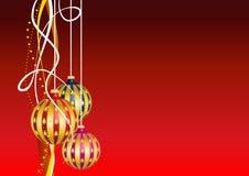 Kartka bożonarodzeniowa z wiszącymi dekoracjami Zdjęcie Stock