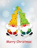 Kartka bożonarodzeniowa z zabawkarskimi karłami, płatek śniegu i życzy /Merry Christmas/, ilustracji