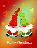 Kartka bożonarodzeniowa z zabawkarskimi karłami, płatek śniegu i życzy /Merry Christmas/, ilustracja wektor