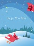 Kartka bożonarodzeniowa z zima krajobrazem i parą kardynały Fotografia Royalty Free