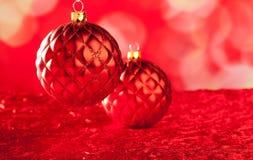 Kartka bożonarodzeniowa capiton czerwony bauble Obrazy Royalty Free