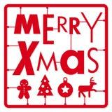 Kartka bożonarodzeniowa, typografia pisze list typ chrzcielnica i ilustracj ikon zestaw Obrazy Stock