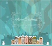 Kartka bożonarodzeniowa z domami, wektor Zdjęcie Stock