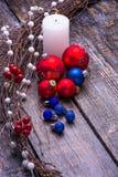 Kartka bożonarodzeniowa z drzewnymi dekoracjami Zdjęcie Royalty Free