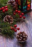 Kartka bożonarodzeniowa z drzewnymi dekoracjami Zdjęcia Stock