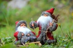 Kartka bożonarodzeniowa z dwa snowmans na saniu Obraz Stock