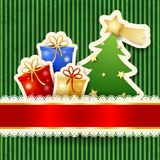 Kartka bożonarodzeniowa z papierowym drzewem i prezentami Zdjęcie Stock