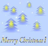 Kartka bożonarodzeniowa z rozjarzonymi drzewami Zdjęcie Stock