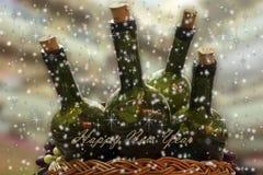 Kartka bożonarodzeniowa z winem i winogronami Fotografia Royalty Free