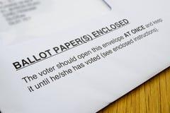 kartka do głosowania Fotografia Stock