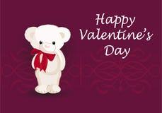 Kartka z pozdrowieniami z ślicznym niedźwiedziem szczęśliwy dzień valentine s obrazy stock