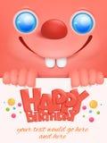 Kartka z pozdrowieniami z śmiesznym różowym emoticon twarzy szablonem Obrazy Royalty Free