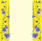 Kartka z pozdrowieniami, błękitni dzwony na złocistym tle Obrazy Royalty Free