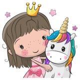 Kartka Z Pozdrowieniami z bajki jednorożec i Princess ilustracji