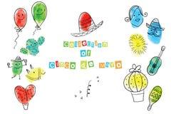 Kartka z pozdrowieniami Cinco de Mayo dzień ilustracja wektor