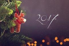 Kartka z pozdrowieniami dekoraci Bożenarodzeniowy kalendarz Zdjęcia Royalty Free