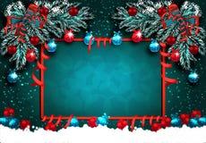 Kartka z pozdrowieniami z dekoracjami na zielonym śniegu i choince Piłki z wzorem, faborki Narożnikowy rysunek ilustracja wektor