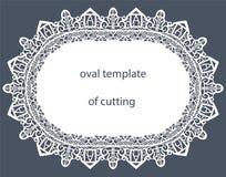 Kartka z pozdrowieniami z dekoracyjną owal granicą, doily papier pod tortem, szablon ilustracji