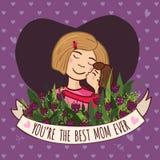 Kartka z pozdrowieniami dla blondynki mamy z miłością Obraz Royalty Free