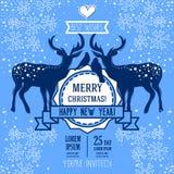 Kartka z pozdrowieniami dla bożych narodzeń i szczęśliwego nowego roku z parą boże narodzenia rogacz i ptaki Obrazy Royalty Free