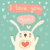 Kartka z pozdrowieniami dla mamy z ślicznym królikiem. Obraz Royalty Free