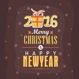 Kartka z pozdrowieniami dla nowego roku 2016 i Bożenarodzeniowy świętowanie Fotografia Stock