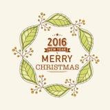 Kartka z pozdrowieniami dla nowego roku 2016 i Bożenarodzeniowy świętowanie Zdjęcia Royalty Free