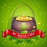 Kartka z pozdrowieniami dla St Patrick dnia z garnkiem złoto czerwieni faborek ilustracji
