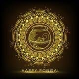 Kartka z pozdrowieniami dla Szczęśliwego Pongal świętowania Zdjęcie Stock