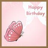 Kartka z pozdrowieniami dla urodziny Pocztówka dekoruje z różowym motylem pojęcia projekta restauraci szablon ilustracji
