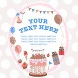 Kartka z pozdrowieniami dla urodziny z polem dla teksta ilustracja wektor