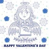 Kartka z pozdrowieniami dla walentynka dnia z słodką anioł dziewczyną Zdjęcie Stock