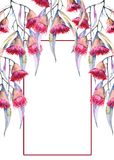 Kartka z pozdrowieniami gałąź gumowi kwiaty pojedynczy białe tło Fotografia Stock