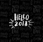 Kartka z pozdrowieniami z kaligrafią 2018 Cześć Szablon dla gratulacj, parapetówa plakaty, zaproszenia, fotografii narzuty ilustracji