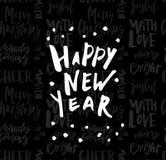 Kartka z pozdrowieniami z kaligrafia Szczęśliwym nowym rokiem Szablon dla gratulacj, parapetówa plakaty, zaproszenia, fotografii  ilustracja wektor