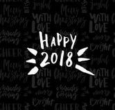 Kartka z pozdrowieniami z kaligrafia Szczęśliwym nowym rokiem 2018 Szablon dla gratulacj, parapetówa plakaty, zaproszenia, fotogr ilustracji