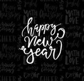 Kartka z pozdrowieniami z kaligrafia Szczęśliwym nowym rokiem Szablon dla gratulacj, parapetówa plakaty, zaproszenia, fotografii  royalty ilustracja