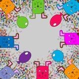 Kartka z pozdrowieniami z kreskówek śmiesznymi zwierzętami Miejsce dla twój teksta, Wektorowa ilustracja Śmiesznej kreskówki stub ilustracja wektor