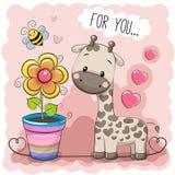 Kartka z pozdrowieniami kreskówki Śliczna żyrafa z kwiatem Fotografia Royalty Free