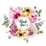 Kartka z pozdrowieniami z kwiatami w akwareli ilustracji