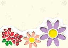 Kartka Z Pozdrowieniami z kwiatami w stylu wycinanek ilustracja wektor