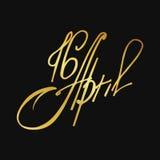 Kartka z pozdrowieniami 16 Kwiecień, odosobniony kaligrafii literowanie, Szczęśliwa wielkanoc, słowo projekta szablon Royalty Ilustracja