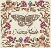 Kartka z pozdrowieniami. Motyle. Piękna rama. Zdjęcia Stock