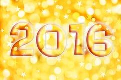 2016 kartka z pozdrowieniami na złocistych błyszczących wakacji światłach Fotografia Stock
