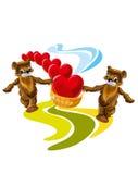 Kartka z pozdrowieniami niedźwiedź z sercem - ilustracja ilustracji