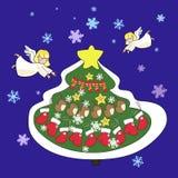 Kartka z pozdrowieniami, nowy rok i boże narodzenia, ilustracji