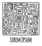 Kartka z pozdrowieniami z plemiennym doodle wzorem od geometrycznych kształtów Fotografia Stock